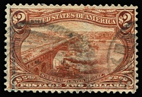 Lot 1482:1898 Trans-Mississippi Exposition $2 orange-brown, light registration mark at left, lightly cancelled and very presentable. Sc #293, Cat $1,050.