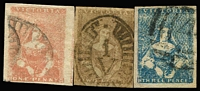 Lot 409:1850-56 Half Lengths 1d almost four margins, 2d three margins & 3d four margins. Generally fine. (3)