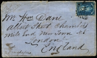 Lot 420 [2 of 2]:1859 Cover with QOT 6d to Sydney tied by BN '4' alongside 'SANDHURST' cancel also 1860 cover with QOT 6d tied by poor strike of (QUARTZREEF) PLEASANT C(REEK) cds, very light London arrival cds. Both covers with faults. (2)