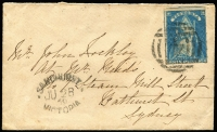 Lot 420 [1 of 2]:1859 Cover with QOT 6d to Sydney tied by BN '4' alongside 'SANDHURST' cancel also 1860 cover with QOT 6d tied by poor strike of (QUARTZREEF) PLEASANT C(REEK) cds, very light London arrival cds. Both covers with faults. (2)