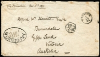 "Lot 1310 [1 of 2]:1871 (5 Oct) Stampless Cover to BAIRNSDALE from 'BRUNECK' (Southern Tyrol) with Austrian type 'thimble' cds endorsed ""Via Brindisi"" with transit backstamps of ''TRIESTE/7/10/71', then sent west overland to France with 'LYON/11/OCT/71', 'LYON A MARSEILLE/11/10/71' backstamp, superb strike of the unusual septagonal Anglo-French Postal Convention 'FR./2f96c postage payable handstamp, oval mss ""2/6""/MORE TO PAY' handstamp, Melbourne transit & Bairnsdale arrival cds. Minor defects. [There is only one other inwards item recorded bearing any of the Anglo-French handstamps. Bruneck is a medieval town in the Southern Tyrol. Today it is the Italian town of Brunico, 80% of the population still speak German. The routing via France suggests that the cover was mis-directed from Trieste, adding as much as a week to the transit time.]"