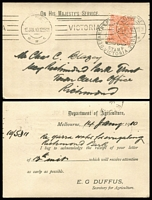 Lot 425 [2 of 4]:1904-12 Official Post Cards from 9 different Gov't Depts incl Dept of Agriculture, Dept of Lands & Surveys (10, various types), Vict Water Supply, Mines Dept (Boiler Inspection Act), Office of Titles, State Rivers & Water Supply Comm, Comm.of Land Tax, Public Health Dept (24, various types), etc, Most franked with 1d QV perf 'OS', some with 'PAID' slogan type cancels, also two 'Minister of Health' franks and a 'Minister of Agricuture' frank. (40+)