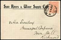 Lot 425 [1 of 4]:1904-12 Official Post Cards from 9 different Gov't Depts incl Dept of Agriculture, Dept of Lands & Surveys (10, various types), Vict Water Supply, Mines Dept (Boiler Inspection Act), Office of Titles, State Rivers & Water Supply Comm, Comm.of Land Tax, Public Health Dept (24, various types), etc, Most franked with 1d QV perf 'OS', some with 'PAID' slogan type cancels, also two 'Minister of Health' franks and a 'Minister of Agricuture' frank. (40+)
