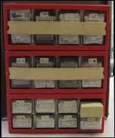 Lot 390 [1 of 3]:A-Z Accumulation: with many sorted into alphabetical order in small trays. Plus 2 almost complete rolls (one Nos.33-1000, the other 39-1000) both from Bairnsdale also small group of British labels. Mixed condition. (10,000s)