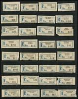 Lot 393 [1 of 3]:Collection: on 47 Hagners incl seriffed 'R's 'Albert Park South S.C.6' to 'Yatpool' (540+), C5 (black numerals) from 'Alexandria' to 'Yuroke' (365), C5A (blue numerals) 'Aberfeldy' to 'Youanmite' (670+), many minor varieties throughout, range of provisional mostly mss. Mixed condition. (1,400+)