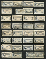 Lot 394 [3 of 4]:Collection: on 48 Hagners with 'C6' (Flat numerals) 'Aberfeldy' to 'Macleod' incl range of provisionals with mss, handstamped or typed labels, few varieties. Mixed condition. (1,500++)