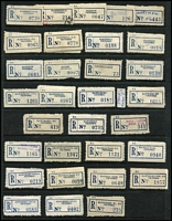 Lot 395 [2 of 5]:Collection A-Y: on 99 Hagners in 2 albums of 'C6' labels with curved numerals from 'A 1 Mine Settlement' to 'Yuroke' with many provisional labels incl typed, manuscript or rubber stamped, several with & without postcode or different codes or spellings for same towns, some 'mispelt', many minor varieties. Generally fine. HEAVY LOT (3.88kg). (1,000s)