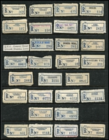 Lot 395 [1 of 5]:Collection A-Y: on 99 Hagners in 2 albums of 'C6' labels with curved numerals from 'A 1 Mine Settlement' to 'Yuroke' with many provisional labels incl typed, manuscript or rubber stamped, several with & without postcode or different codes or spellings for same towns, some 'mispelt', many minor varieties. Generally fine. HEAVY LOT (3.88kg). (1,000s)