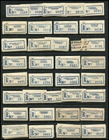 Lot 400 [2 of 4]:Collection Of Labels: on 38 Hagners with Type C6C (Coil) from 'Abbotsford, N.9' to 'Yarraville' on 35+ Hagners, several with old style postal code errors 'Chelsea S.22' instead of 'S.15', 'Fitzroy, N.7' instead of 'N.6', 'Red Cliffs' & 'Redcliffs', also selection of various city PO labels, some with & without 'C.1', no comma after 'Melbourne', few with 'C.1' blacked out, joined pair of unused labels with different 'R6' Dies, selection of fancy 'No' labels, several coil roll ends numbered between '2000' & '10000', etc. Generally fine. (100s)