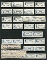 Lot 400 [3 of 4]:Collection Of Labels: on 38 Hagners with Type C6C (Coil) from 'Abbotsford, N.9' to 'Yarraville' on 35+ Hagners, several with old style postal code errors 'Chelsea S.22' instead of 'S.15', 'Fitzroy, N.7' instead of 'N.6', 'Red Cliffs' & 'Redcliffs', also selection of various city PO labels, some with & without 'C.1', no comma after 'Melbourne', few with 'C.1' blacked out, joined pair of unused labels with different 'R6' Dies, selection of fancy 'No' labels, several coil roll ends numbered between '2000' & '10000', etc. Generally fine. (100s)