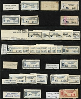 Lot 389 [2 of 6]:'Error' Collection: incl spelling errors with 'Dantmouth', 'Narre Warrren North', 'Street' omitted (from Sturt), 'Tabilk' (in red), Wandin Yalloak', misplaced town names, numbers or perforations, wrong postal codes, inverted 'Victoria', 'Victoria' printed on label instead of 'New South Wales' for 'Cal Lal' & 'Wentworth'. Several labels on covers, also few correct labels for comparison. Mixed condition. (Approx 100 & 6 covers)