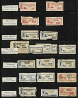 Lot 389 [1 of 6]:'Error' Collection: incl spelling errors with 'Dantmouth', 'Narre Warrren North', 'Street' omitted (from Sturt), 'Tabilk' (in red), Wandin Yalloak', misplaced town names, numbers or perforations, wrong postal codes, inverted 'Victoria', 'Victoria' printed on label instead of 'New South Wales' for 'Cal Lal' & 'Wentworth'. Several labels on covers, also few correct labels for comparison. Mixed condition. (Approx 100 & 6 covers)