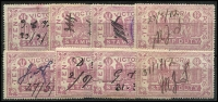 Lot 410:1884-96 Stamp Duty Designs V/Crown: £10 mauve x8, fiscally used, Elsmore Online Cat $400. (8)