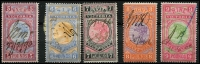 Lot 415:1886-96 New Stamp Duty Designs Wmk 2nd V/Crown: £5 to £9 Bi-colours set, fiscally used, Elsmore Online Cat $1,250. (5)