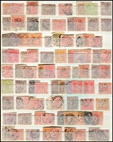 Lot 390 [1 of 5]:Barred Numeral Collection with 1,000+ incl 2R, 3R, 4Rs & 5R rated, plus 1,000+ additional examples, with light duplication, many on pairs, occasionallly on blocks; also duplex numerals and a miscellaneous section of postmarks incl 'Belt & Buckles', 'M.O&S.B.' types, coloured cancels, few Victoria used in Tasmania, etc. Wonderful lot for the postmark enthusiast. (1,000s)
