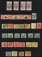 Lot 406 [3 of 3]:1860s-1912 Accumulation with values to 2/6d (2), 5/-, few Revenues incl 1893 1d & 2d postally used, few 'WA' & 'OS' perfins also several private perfins. Generally fine. (120+)
