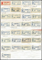 Lot 441 [3 of 3]:Agnew to Zanthus: comprising 320 different labels incl 15 red, 15 blue/black & 290 C6 blue labels and 11 registered covers. Labels incl 'Pay Train, Trans. Railway', 'Roy Hill', 'Apostrophe' & 'No Apostrophe' types, 'West Australia' or 'Western Australia', few mss, handstamped. Mixed condition as to be expected. (320 & 11 covers)