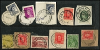 Lot 421:1910s-2000s On & off-paper selection of 'A to W' towns haphazardly presented in envelopes. 220g+. Mixed condition.
