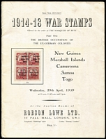 Lot 189:1914-18 War Stamps: Part 1, British Occupation of the Ex-German Colonies - New Guinea, Marshall Islands, Cameroons, Samoa & Togo, Offered by order of the Marquess of Bute. by Robson Lowe London. 29th April 1959. Paperback. Scarce.