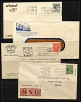 Lot 321 [1 of 5]:1929-98 Range incl few Officials, meters, slogans, several to USA incl 1960s cover with 2/- Flannel Flower strip of 6 (one unit with fault), illustrated covers, many trades represented throughout, etc. Mixed condition. (120+)
