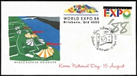 Lot 334 [1 of 2]:1980 EXPO Collection of covers (63) with special cancels in special album plus 2 groups of 24 covers additionally inscribed 'WORLD EXPO 88/Brisbane, Qld 4000' and various 'National Days' etc. on appropriate covers. (111)