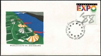 Lot 360:1988 Expo (Brisbane) of 63 pmks (ex Opening Day). APM 20012 reads 'European Communities Day' all housed in APost special folder.
