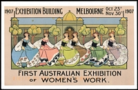"Lot 334 [2 of 5]:2007 Centenary of Women's Work Exhibition, Castlemaine Opening Day cancel (22 Oct) on Special Exhibition card (2) and on registered envelopes (2 and PO Lodgement Receipt). [Vendor states ... ""only 3 registered covers were posted at Exhibition"".] Closing Day (7 Dec) on Exhib PPCs, plus 4 Exhib PPCs posted on 11 Dec (several days after Exhibition officially closed). Cat #APM39700-01. (13 items)"
