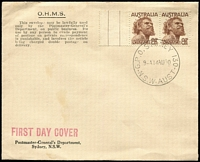 Lot 536:PMG's Department 1950 8½d Aborigine pair on 'OHMS.' envelope tied by 'G.P.O. SYDNEY 130/9-A14AU50/N.S.W.-AUST' cds, unaddressed, unsealed. Minor blemish.