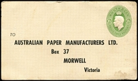 Lot 716:1941-50 1½d Green KGVI Oval with printed address for Australian Paper Manufacturers, Morwell, BW #PS29. Unused. Some minor stains nevertheless a very rare PTPO card.