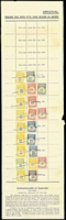 Lot 310 [1 of 2]:Tax Stamps: 1945-56 Selection of Tax Installstamps affixed to tax stamp sheets incl values to 9d (8), 6/- (3), 9/-, 15/- (8), 19/- (3), £1 (14), £2 (12), £3 (4) & £5 (2). Generally fine. (Approc 100)