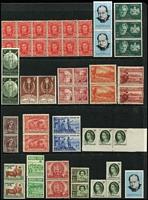 Lot 205 [1 of 3]:1913-2010s Accumulation on 48 Hagners & partially filled 64 page stockbook few KGV 4d olive (9), 5d brown (6), 1/4d, plus duplicated range of low value commems & defins, later issues incl 1984 $5 Holiday at Mentone block of 10, cds cancels, also few MUH pre-decimal commems. Mixed condition. (1,000s )