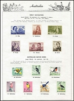 Lot 203 [3 of 3]:1913-75 Simplified Collection on Seven Seas pages incl range of KGV Heads to 4½d, 1914 commems to 1975 complete incl Kooka M/S, (ex 5/- Bridge), Robes Thick paper (3), 1949 Arms (4), 1961 Stockman (Cream), 1963-64 Navigators (6), MUH incl 1970 Cook ANPEX M/S, 1971 Christmas block of 9, 1974-79 Paintings (5), also MLH range of 'OS' opts incl 6d Airmail. Generally fine and where mounted- very lightly. (100s)