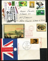 Lot 99 [2 of 2]:1980s-90 FDCs, PSEs some with additional cachets, commem pmks, etc. Some unaddressed. Also 1970 Royal Visit on APO covers (21, ex Sydney cancels), & range of Instructional mail markings (33) incl 'Return To Sender' labels, 'Fickle Finger' cachets, 'Left Address' handstamp in green or violet. Generally fine. (Approx 200)