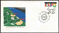 Lot 100 [1 of 2]:1988 Expo Collection of 63 Pavillion postmarks in special Expo folder issued by Australia Post, plus an incomplete APost America's Cup pack including hard cover book & map of the sailing course. (2 items)