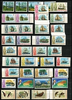 Lot 259 [3 of 3]:KGV-QE Accumulation of low value KGV Heads, 1963 Navigators 4/- (8), 5/- (13), 7/6d (9), 10/- (12) all used, Mint selection incl few early MUH decimals. Territories incl  AAT 1966 Picts (2 sets, one is MUH), Norfolk Island 1966 Opts (12, 1c & $1-small opt), 1967-68 Ships (2 MUH sets) plus few commems. Mixed condition. (100s)