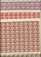 Lot 214 [3 of 3]:KGVI-QE Accumulation in large sheet file & 32 page stockbook with numerous KGVI issues in complete sheets or large multiples, incl 1946 Peace (30 sets), also QE incl 1953 Food Strips 3d (11), 3½d (17), Coronation (16 sets), etc, etc. Generally fine. (1,000s)
