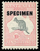 Lot 202 [1 of 3]:'SPECIMEN' Collection incl Roo CofA Wmk 10/- Type D, 1938-49 Robes 10/-, both MLH, 1966-71 Navigators (4) and range of later 'SPECIMEN' opts (13) in red or black on various $1 (9), $1.10 (3) or $1.20 values. MUH. (19)