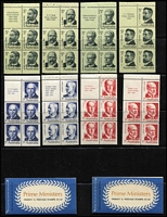 Lot 296 [2 of 2]:1968-73 Booklet Issues incl 1968 Famous Australians 5c (4 panes), 1969-70 Prime Ministers 5c (4 panes), 1970-71 Famous Australians 6c (4 panes), 1972-73 Prime Ministers 7c (4 panes) plus 70c Booklet (2, B137-38), $1.40 Booklet (2, B139, one Edition V71/3, the other G72/1 with wax interleaving). (16 panes & 4 booklets)