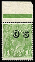 Lot 290:1d Green Watermark Inverted Overprinted 'OS' BW #82(OS)a, marginal single, fresh MUH Cat $2,500 (as mint hinged). Hefty premium for unmounted!
