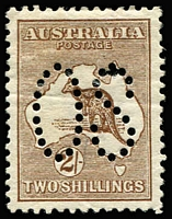 Lot 262 [1 of 2]:Perf 'OS' Group incl 1st wmk Large 'OS' 2/- brown, Small 'OS' 5d marginal, 3rd wmk 2d grey, 3d olive, 6d ultramarine & 9d violet, SM wmk 6d chestnut & 1/- green. retail $1,800+. Mixed centring, minor blemishes. (8)
