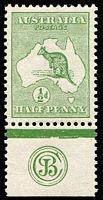 Lot 6:½d Green JBC Monogram single, very lightly 