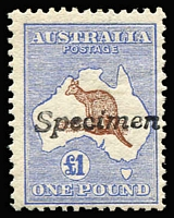 Lot 158:£1 Red-Brown & Blue with variety White flaw in Gulf of Carpentaria [L26], handstamped 'Specimen', BW #51(D)g, Cat $6,500 as normal.