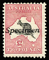 Lot 162:£2 Grey & Deep Rose with variety Colour spot on map north of the Bight [R4], handstamped 'Specimen', BW #55x(D)q, Cat $17,500 as normal.