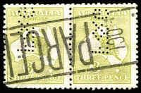 Lot 12:3d Pale Olive-Green Die I-II Pair with Wmk inverted with private perfin 'F&G' (Foy & Gibson, WA), BW #12E/F,a,c, extrapolated Cat $3,200+. Drury certificate (2017).