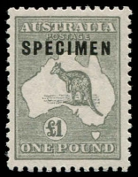 Lot 227:£1 Grey Optd 'SPECIMEN' Type C with variety Sub-type 2 (shaved 'P'), BW #53xf, MVLM, Cat $1,000.