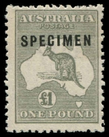 Lot 223:£1 Grey Optd 'SPECIMEN' Type C with variety Sub-type 2 (shaved 'P'), BW #53Axf, light even gum toning, Cat $1,000 for mint.