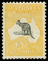 Lot 587:5/- Grey & Chrome-Yellow with minor Doubling of the frame, well centred, lightly mounted. [The doubling is most evident across South Australia & Victoria and into the Tasman Sea. The stamp may be related to the major 'Double Print' BW #44c]