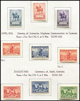 Lot 293 [2 of 2]:1929-36 Commems complete simplified (ex 1932 Bridge set) plus additional Canberra (16, MUH shades), 6d Airmail, 1/- Lyre, 1934 Macarthur 2d Light Hills (10), Dark Hills (10), Retail $800+. Very lightly mounted. (81)