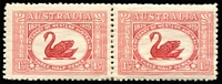 Lot 288 [2 of 4]:1929 WA Centenary 1½d pair, one unit Re-entry ('T' of 'Australia' clearly doubled), 1931 Kingsford Smith 3d pair, one unit Plane dropping bomb, 6d Re-entry 'FO' and 'LO', another with Extra Islands varieties. Very lightly mounted. (6)