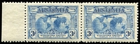 Lot 288 [3 of 4]:1929 WA Centenary 1½d pair, one unit Re-entry ('T' of 'Australia' clearly doubled), 1931 Kingsford Smith 3d pair, one unit Plane dropping bomb, 6d Re-entry 'FO' and 'LO', another with Extra Islands varieties. Very lightly mounted. (6)
